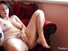 Curvy brunette amateur masturbates alone