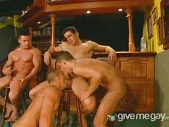 A group of muscular guys fucking each other hard.