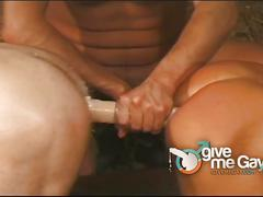 Hot cattle shed sex with three horny friends
