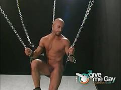 Lewd daddy allievo wanks in chains