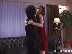 Japanese milf in red dress gets her toes sucked