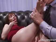 milf, japanese, dildo, brunette, hairy pussy, toe sucking, red dress, feet fetish, jp milfs, all japanese pass