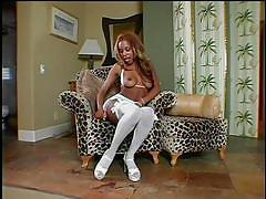 White stockings on sexy black thighs
