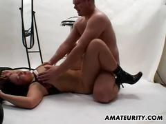 Busty asian girlfriend fucked hard on a photoshoot