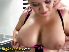 Busty booty babe eating cock