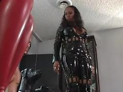 Hot interracial latex ffm with 2 ebony girls