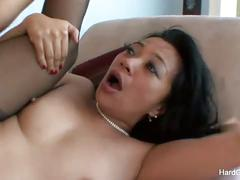 Asian milf gets her tight pussy fucked roughly.