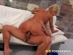 Busty blonde milf rides big dong