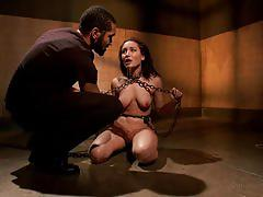 Tattooed slave slammed intensively in a dungeon