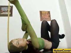 Lewd kattie gold poses on cam wearing body nylon.