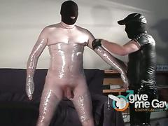 Horny fat daddy milking big dick mummy gay slave.