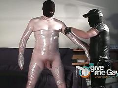 Horny fat daddy milking big dick mummy gay slave.