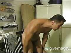 Gorgeoous hunk wanks and toys ass