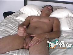 Huge cock gay stud model jerks his big cock nicely