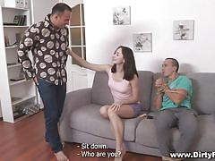 Tied with rope while his girls sucks cock