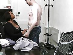 Relaxing with ebony bbw in the office