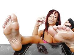 milf, redhead, solo, dildo, oiled feet, feet fetish, feet luv, vivien fox