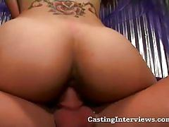 Sexy brunette babe gets shaved pussy drilled hard.