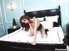 Big boobs babe shay laren teasing on her bed