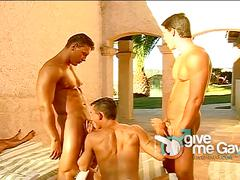 Handsome gay boys filthy orgy outdoors