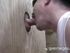Fat daddy sucks cock on glory hole