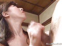 Dark haired japanese mature satisfies her man