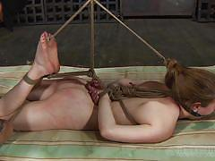 Tied up and kinky pleasured