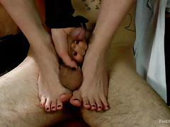 Under her feet