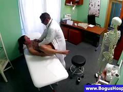 Faux doctor fingering patient pussy