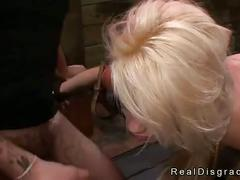 Bent over and tied blonde rough fucked