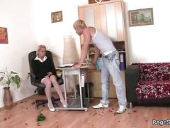 He fucks his horny girlfriend in her office