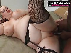 Blonde bbw titty fuck and blowjob black cock before pussy pounding