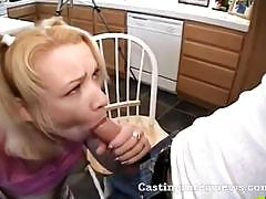 Babe sucks a cock while getting her pussy fucked.