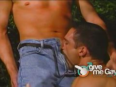 Muscle stud enjoys hard ass outdoor pounding.