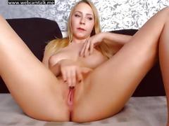 Big tit amateur blonde milf masturbates