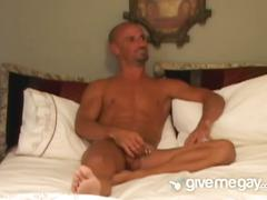 Bald stud penetrates tight anal hole