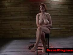 Busty redhead bdsm babe gagging on doms cock