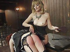femdom, spanking, mistress, whipping, strap on, slave, crossdresser, blonde babe, wig, maid uniform, divine bitches, kink, jay wimp, mona wales