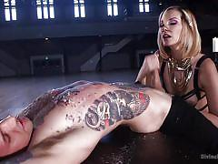 The divine goddess gives her slave a rough handjob and blowjob