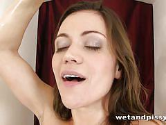 Squirting fun with pretty brunette alyssa