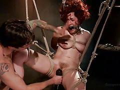 hanging, vibrator, tied up, vault, redhead milf, ball gagged, rope bondage, sex dungeon, dungeon sex, kink, ingrid mouth, tommy pistol