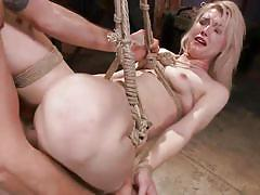 blonde, babe, hanging, deepthroat, slave, rope bondage, sex dungeon, sex swing, dungeon sex, kink, ella nova, maestro