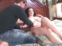 Big boobed brunette milf gets wet cunt