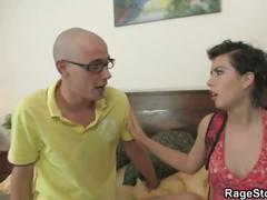 Angry stud fucks rougly with his slutty girlfriend