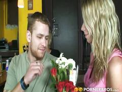 Flower seller blonde babe gets her cunt fucked.
