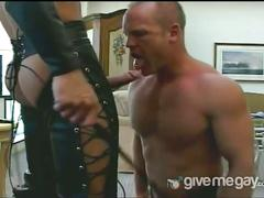 Top hunk in leather stuffing wet ass