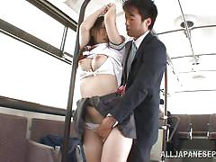 Student with big tits fingered inside the train