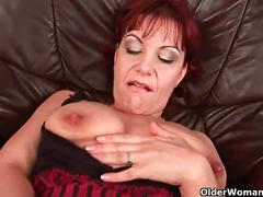 Mature mom nika lubes up her big tits and fuckable pussy