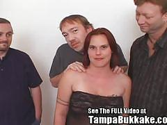 Fat bitch fucked and sucking three cocks finishing in a hot bukkake