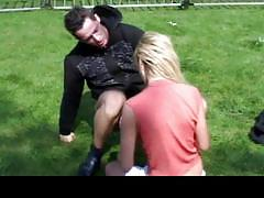 blowjob, hardcore, cumshot, blonde, outdoor, doggy style, amateur, reality, park, backyard, missionary